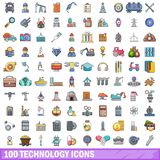 100 technology icons set, cartoon style. 100 technology icons set in cartoon style for any design vector illustration Royalty Free Stock Images