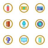 Technology icons set, cartoon style Royalty Free Stock Photography