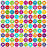 100 technology icons set color Stock Photography