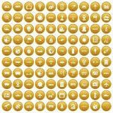 100 technology icons set gold. 100 technology icons set in gold circle isolated on white vector illustration royalty free illustration