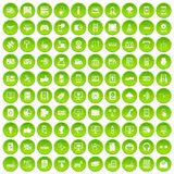 100 technology icons set green. 100 technology icons set in green circle isolated on white vectr illustration Stock Illustration