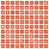 100 technology icons set grunge orange. 100 technology icons set in grunge style orange color isolated on white background vector illustration Stock Image