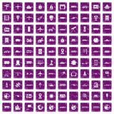 100 technology icons set grunge purple Stock Images