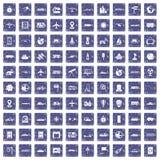100 technology icons set grunge sapphire. 100 technology icons set in grunge style sapphire color isolated on white background vector illustration Stock Images
