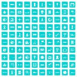 100 technology icons set grunge blue Royalty Free Stock Photo