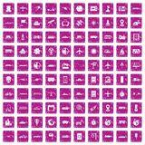 100 technology icons set grunge pink. 100 technology icons set in grunge style pink color isolated on white background vector illustration Stock Photography