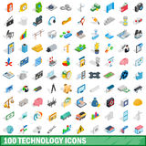 100 technology icons set, isometric 3d style Royalty Free Stock Photos