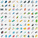 100 technology icons set, isometric 3d style Stock Photos