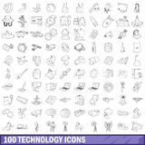 100 technology icons set, outline style. 100 technology icons set in outline style for any design vector illustration stock illustration