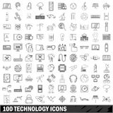 100 technology icons set, outline style Stock Photo