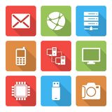 Technology Icons Set with shadow Vol 2 Royalty Free Stock Image