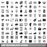 100 technology icons set, simple style. 100 technology icons set in simple style for any design illustration vector illustration
