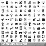 100 technology icons set, simple style. 100 technology icons set in simple style for any design vector illustration Royalty Free Stock Images