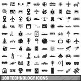 100 technology icons set, simple style. 100 technology icons set in simple style for any design vector illustration Stock Photography