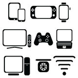 Technology icons set with tablet, mobile phone, smart watch , game console, smart tv, players joystick for game console,  laptop , Royalty Free Stock Photo