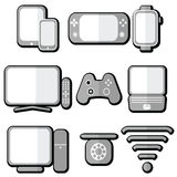 Technology icons set with tablet, mobile phone, smart watch , game console, smart tv, players joystick for game console,  laptop , Royalty Free Stock Images