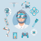 Technology Icons Set. With virtual glasses robotic arm drone quadcopter joystick mobile security artificial elements vector illustration Royalty Free Stock Image