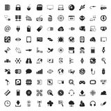 Technology 100 icons set for web. Flat royalty free illustration