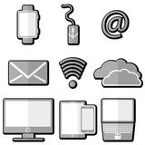 Technology icons with  tablet, mobile phone, smart watch ,  ampersand, laptop, electronic mail, cloud storage , cloud computing, n Stock Image