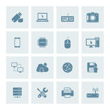 Technology icons. Vector set of 16 technology icons vector illustration