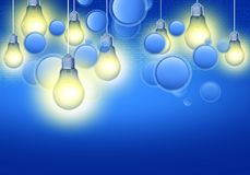 Technology Ideas Concept. Illustration. Bulbs and Bubbles on Blue Background Stock Image