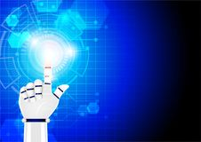 Technology illustration, robot hand pushing blue hi-tech abstrac. T circle button on futuristic background Royalty Free Stock Photo