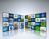 Technology images. Tv panels with technology images Royalty Free Stock Photography