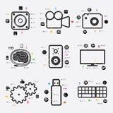 Technology infographic. Technology beautiful line infographic. Vector illustration. Fully editable vector file Stock Image