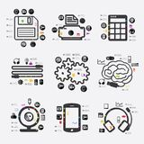 Technology infographic. Technology line infographic. Vector illustration. Fully editable file Stock Photography