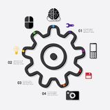 Technology infographic. Technology line infographic. Vector illustration. Fully editable file Stock Photos