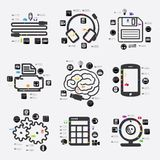 Technology infographic. Technology line infographic. Vector illustration. Fully editable vector file Stock Photos