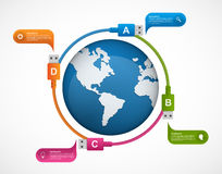 Technology infographics template with colorful USB cables around the globe Royalty Free Stock Image