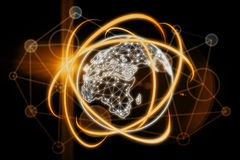 Technology, innovation and communication  concept. Abstract glowing global network background. Technology, innovation and communication concept. 3D Rendering Royalty Free Stock Photos