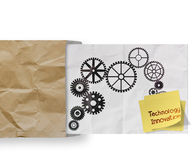 Technology innovation sticky note with gear Stock Photo