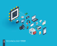 Technology integrated 3d web icons. Growth and progress concept. Technology integrated 3d web icons. Digital network isometric progress concept. Connected vector illustration