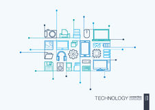 Technology integrated thin line symbols. Royalty Free Stock Images