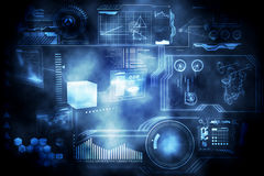 Technology interface. In black and blue Stock Images
