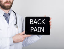 Free Technology, Internet And Networking In Medicine Concept - Doctor Holding A Tablet Pc With Back Pain Sign. Internet Royalty Free Stock Image - 71671916