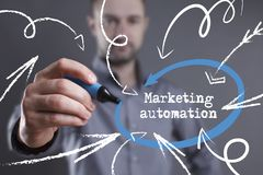 Technology, internet, business and marketing. Young business man. Writing word: Marketing automation Royalty Free Stock Photo