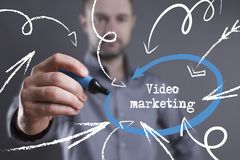 Technology, internet, business and marketing. Young business man. Writing word: Video marketing Stock Images