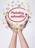 Technology, internet, business and marketing. Young business wom. An writing word: Marketing automation Royalty Free Stock Photography