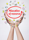 Technology, internet, business and marketing. Young business woman. Writing word: Allocation of resources Royalty Free Stock Photos