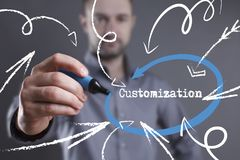 Technology, internet, business and marketing. Young business man. Writing word: Customization Stock Photos