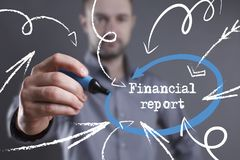 Technology, internet, business and marketing. Young business man. Writing word: Financial report Royalty Free Stock Image