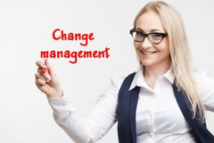 Technology internet business and marketing. Young business woman writing word: change management. royalty free stock photo