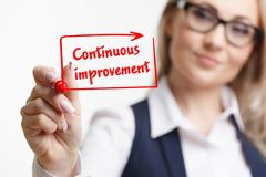 Technology, internet, business and marketing. Young business woman writing word: Continuous improvement. Technology internet business and marketing. Young stock images