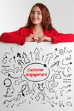 Technology, internet, business and marketing. Young business woman writing word: customer engagement. Technology, internet, business and marketing. Young royalty free stock image