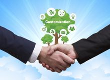 Technology, the Internet, business and network concept. Business. Men shake hands: Customization Stock Photography