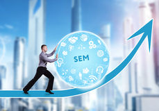 Technology, the Internet, business and network concept. A young. Businessman overcomes an obstacle to success: SEM Royalty Free Stock Photos