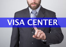 Technology, internet and networking concept - Businessman presses visa center button on virtual screens. Internet Royalty Free Stock Photo